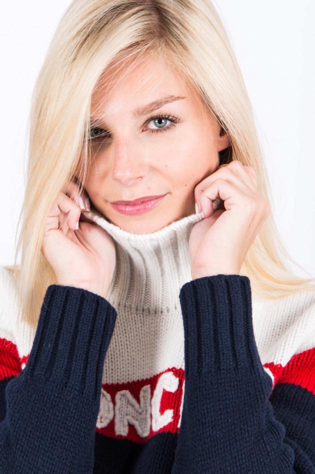 Moncler Rollkragen Pullover in Weiß/Rot/Blau