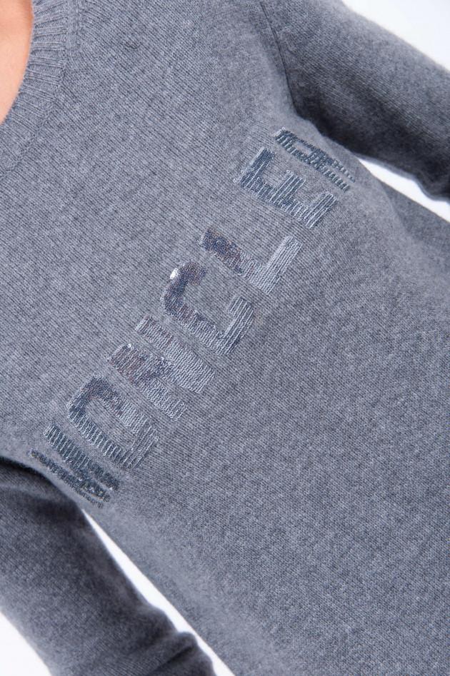 Moncler Rundhalspullover mit Kaschmir in Grau