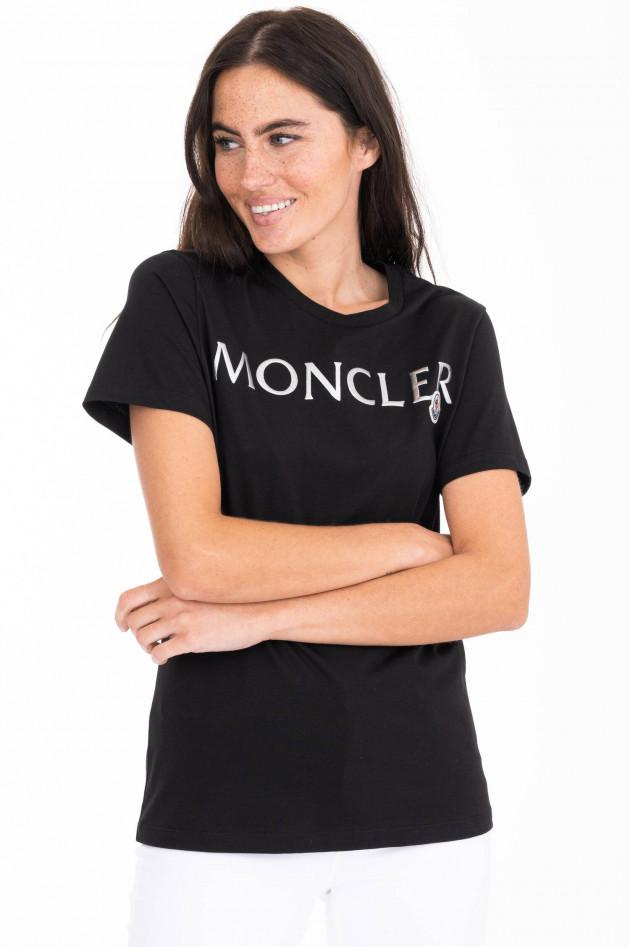 Moncler T-Shirt mit Metallic-Schriftzug in Schwarz