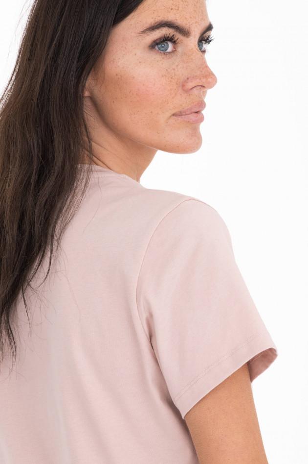 Moncler T-Shirt mit Metallic-Schriftzug in Rosa