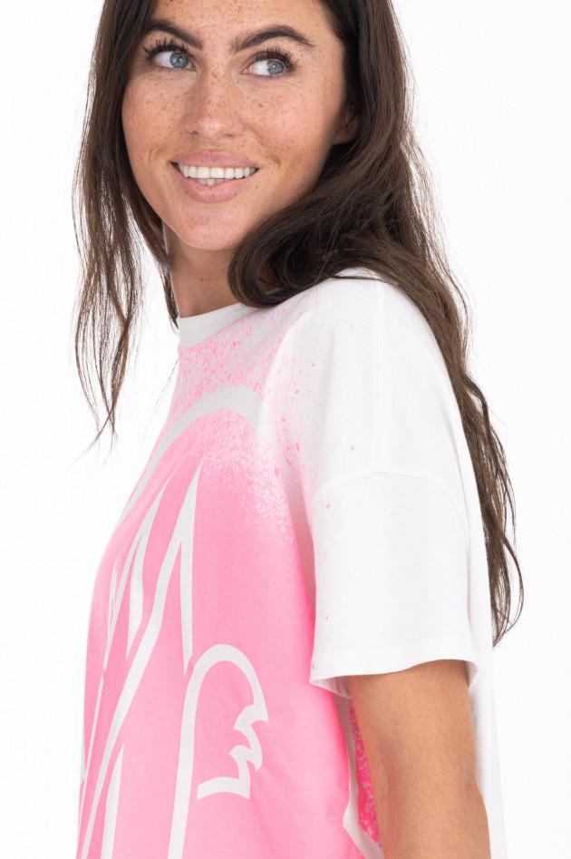 Moncler T-Shirt mit Colour-Splash-Print in Weiß/Neonpink