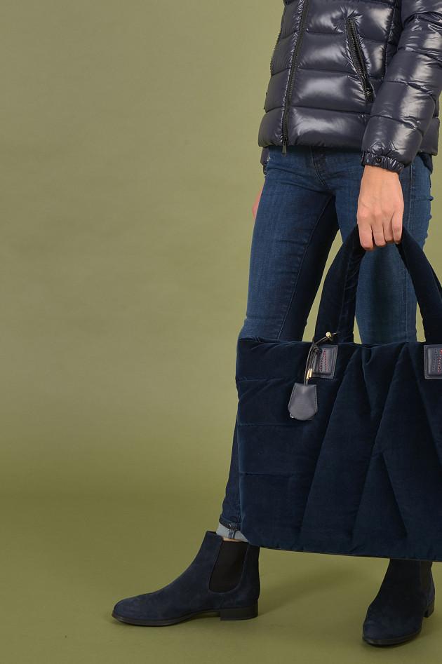 Moncler Daunentasche mit Samtoptik in Navy
