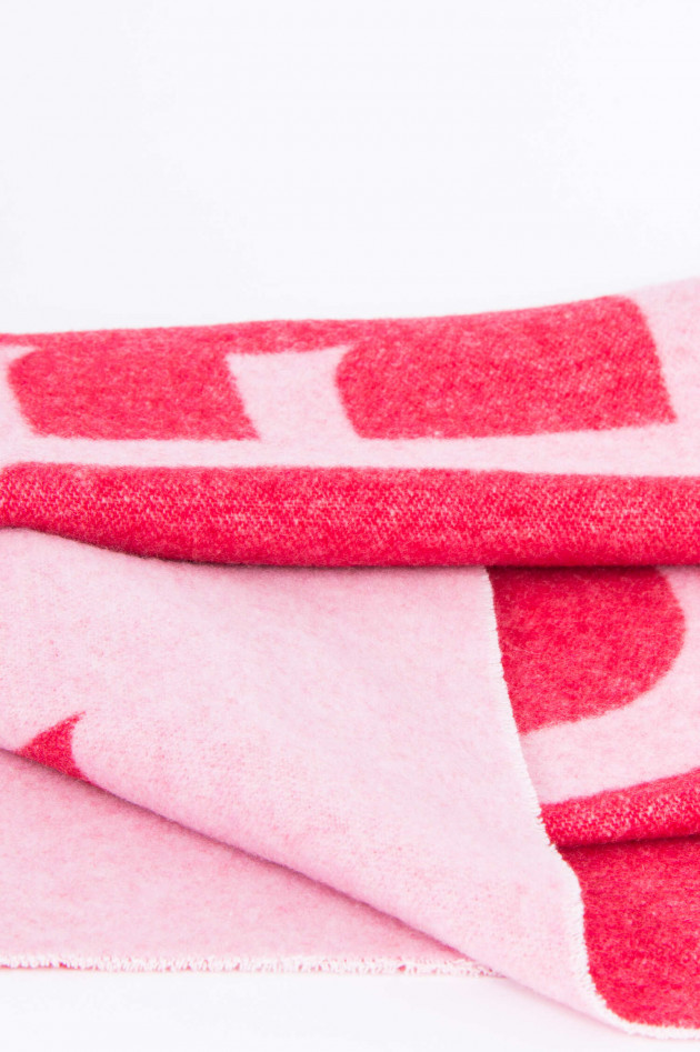 Moncler Wollschal mit Schriftzug in Pink/Rosa