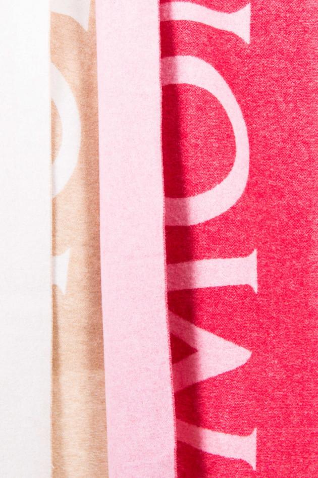 Moncler Wollschal mit Schriftzug in Beige/Natur