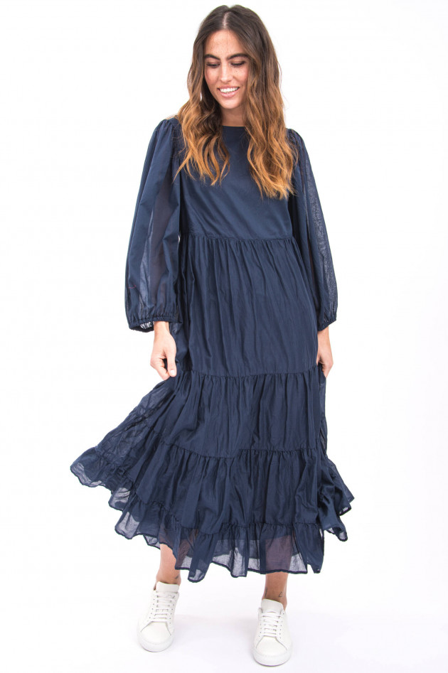Ottodame Langes Kleid mit Volantbahnen in Blau