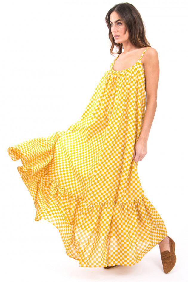 Ottodame Maxi-Kleid mit Schachbrettmuster in Weiß/Gelb