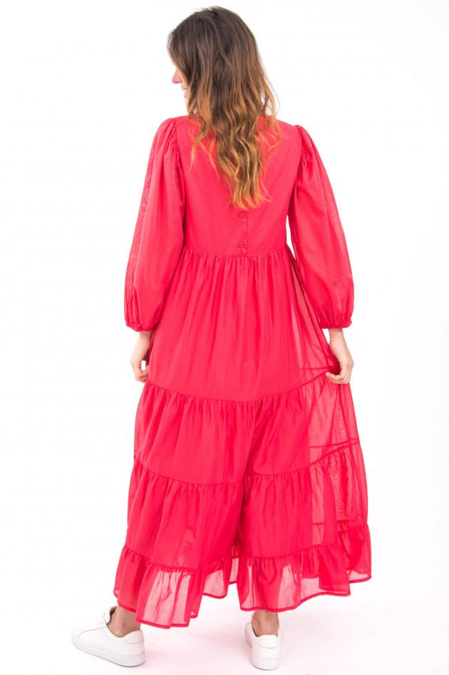 Ottodame Langes Kleid mit Volantbahnen in Korallpink