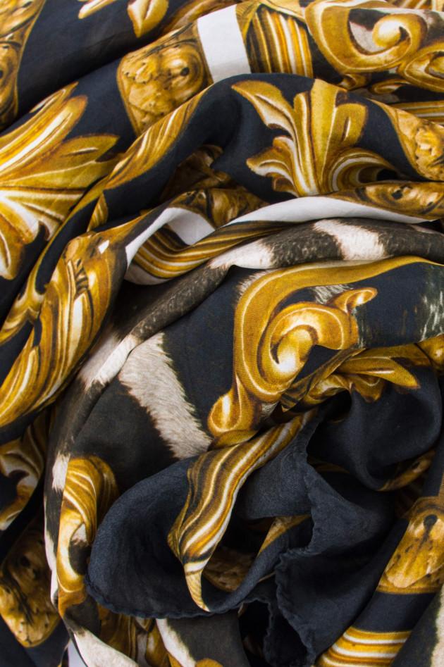 Ottotredici 813 Seiden-Tuch FEDE SARDEGNA in Gold/Schwarz