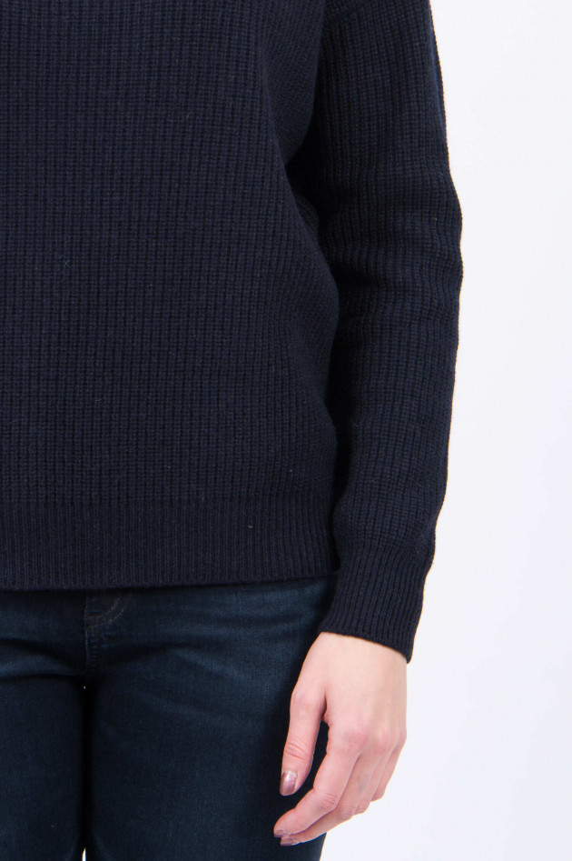 Peserico Wollpullover mit Stehkragen in Navy