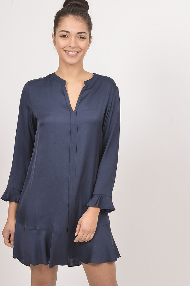 Repeat Kleid mit Volants in Navy
