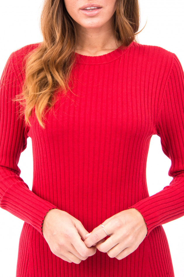 Repeat Langes Rippstrickkleid in Rot