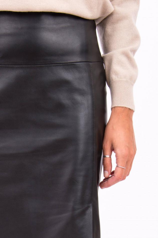 Repeat Lederrock mit hohem Bund in Schwarz