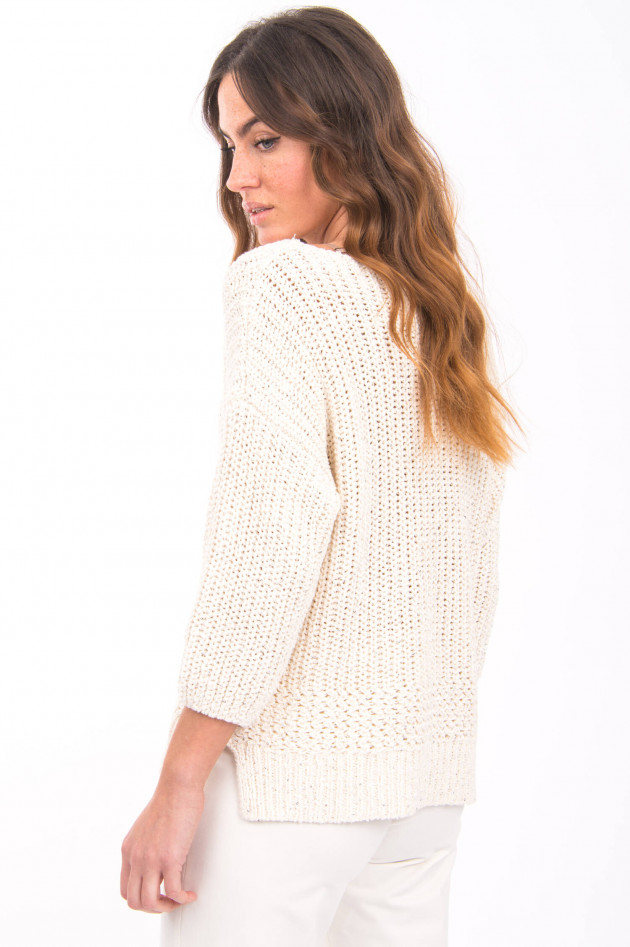 Repeat Grobstrick-Pullover mit Pailletten in Creme