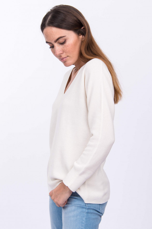 Repeat Pullover mit V-Ausschnitt in Natur