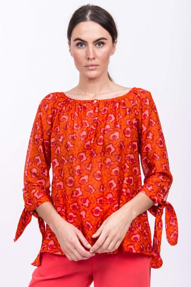 Rosso 35 Blusenshirt im floralen Design in Orange