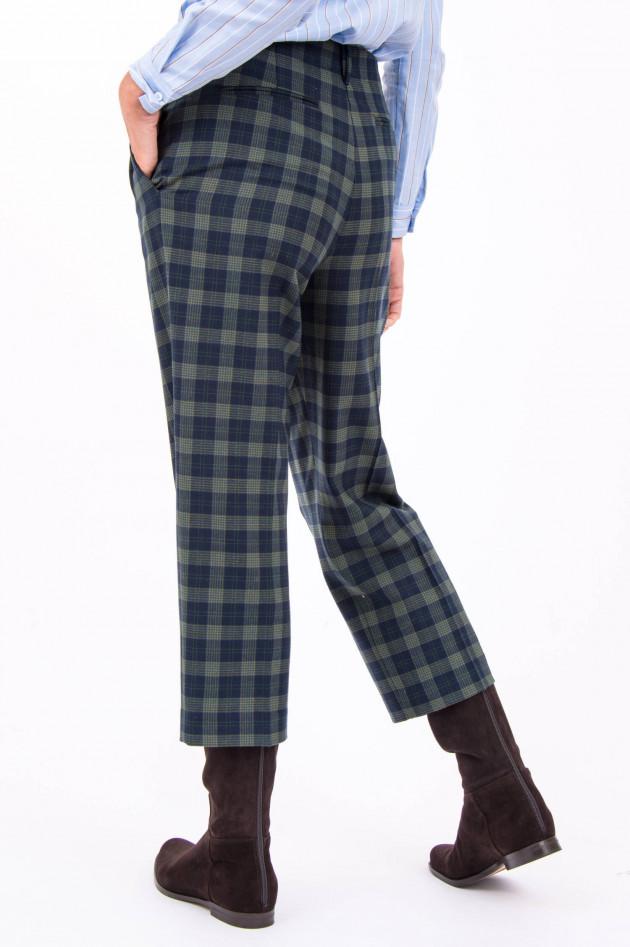 Rosso 35 Hose aus Woll-Mix in Grün/Navy