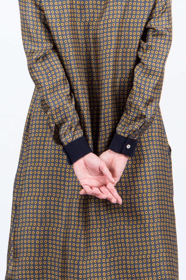 Rosso 35 Seidenkleid in Grau/Gelb gemustert - 3909137