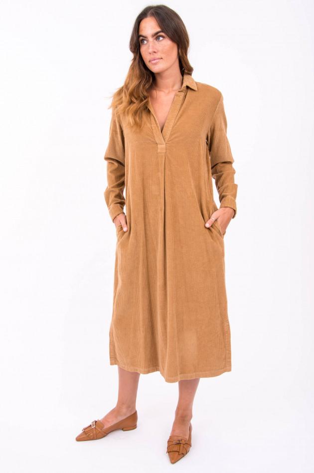 Rosso 35 Cord-Kleid mit Blusenkragen in Camel