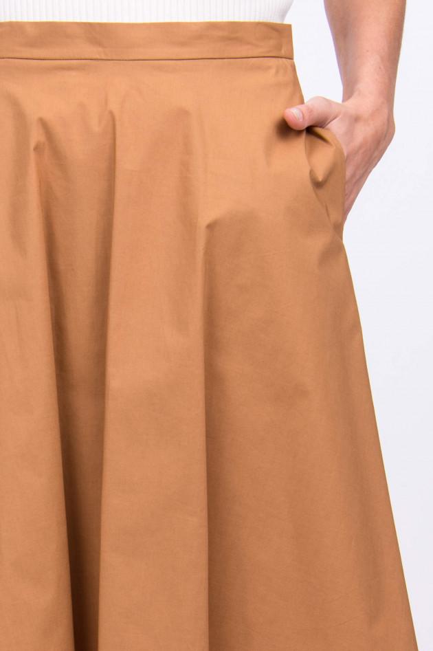 Rosso 35 Baumwollrock mit Eingrifftaschen in Camel