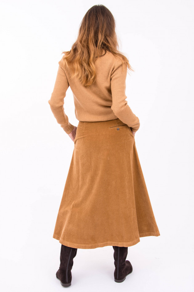 Rosso 35 Langer Cord-Rock mit Knopfleiste in Camel