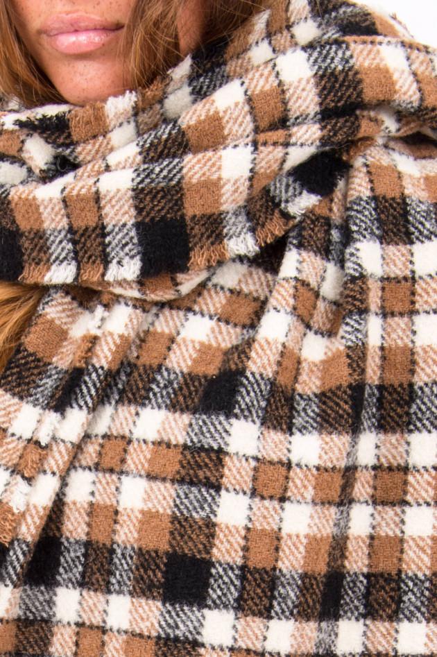 Rosso 35 Schal mit Karo-Muster in Camel/Schwarz