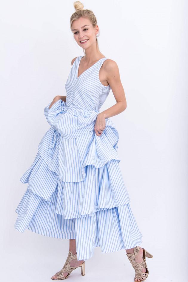 Sara Roka Maxi-Kleid ERIKA in Weiß/Hellblau gestreift ...