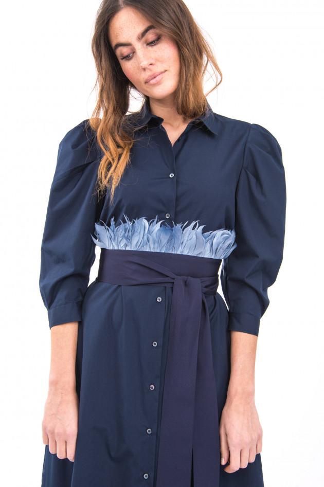 Sara Roka Blusenkleid mit Taillengürtel in Navy
