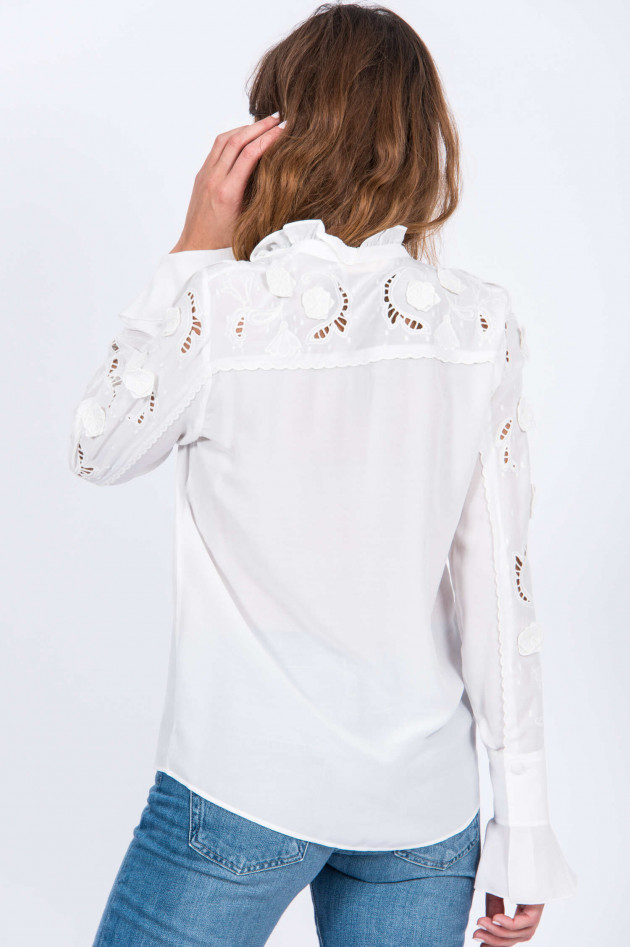See by Chloé Bluse floral bestickt in Natur