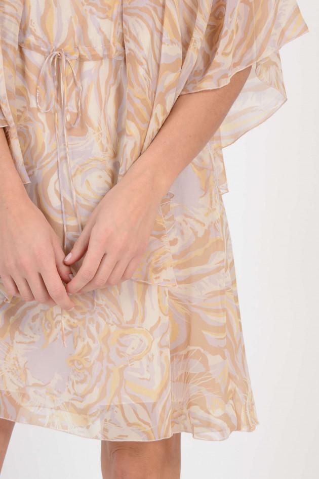 dd107108c7ae11 See by Chloé Kleid aus Seide mit Tigerprint in Braun/Gelb | GRUENER.AT
