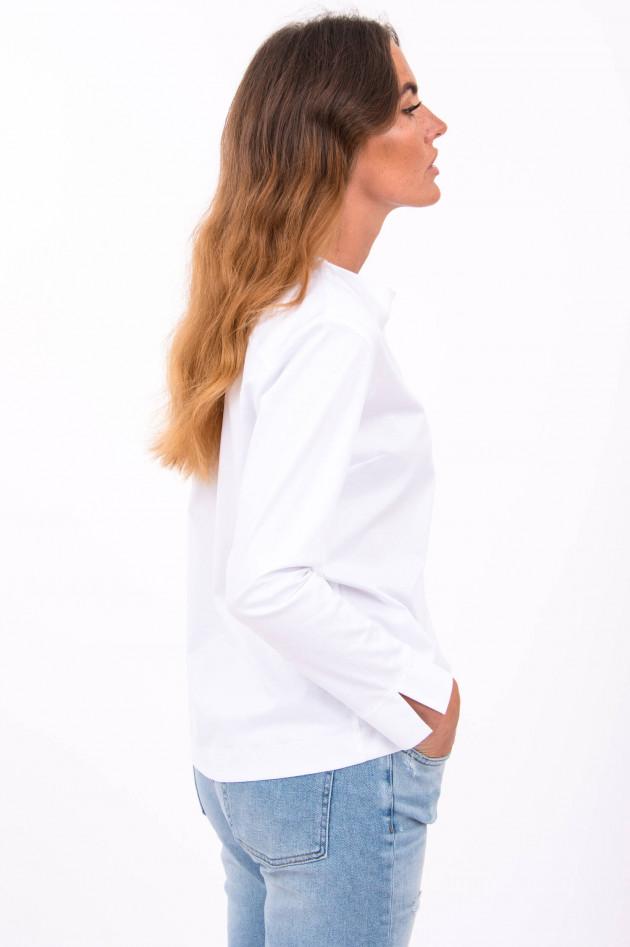 Soluzione Bluse aus elastischen Stoff in Weiß