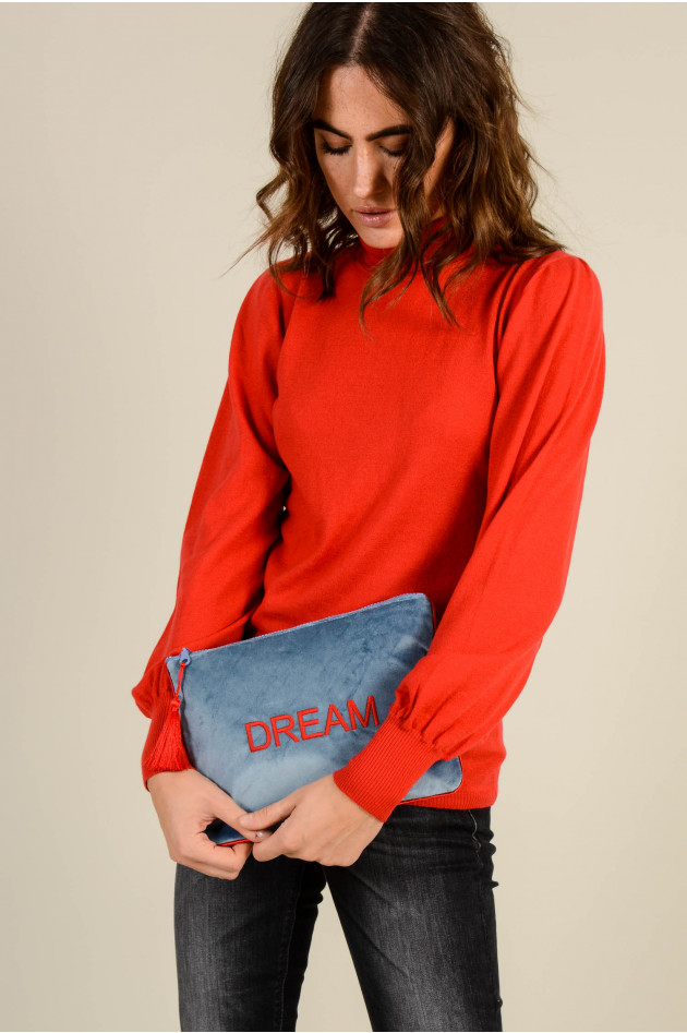 Sorbet Clutch DREAM aus Baumwollsamt in Blau/Rot
