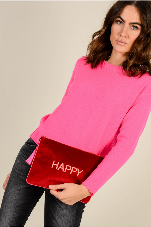 Sorbet Clutch HAPPY aus Baumwollsamt in Rot/Neonpink