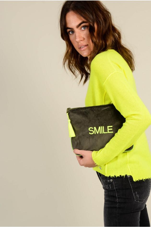 Sorbet Clutch SMILE aus Baumwollsamt in Oliv/Neongelb