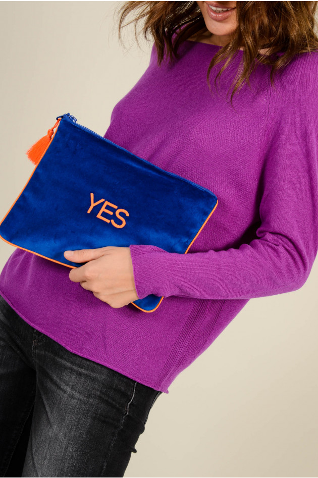 Sorbet Clutch YES aus Baumwollsamt in Blau/Neonorange