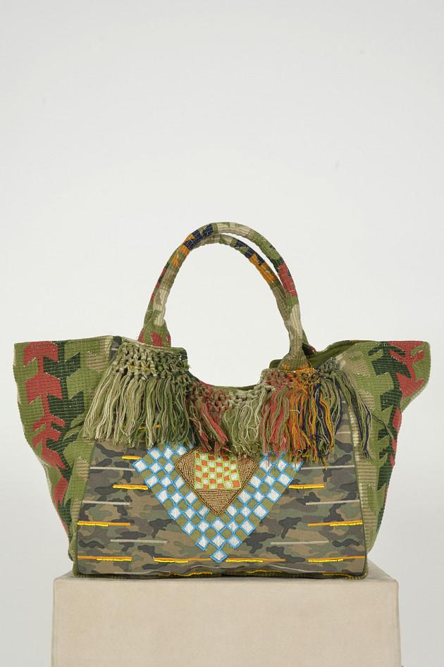 Soul Kathrin Tasche mit Fransen in Oliv gemustert