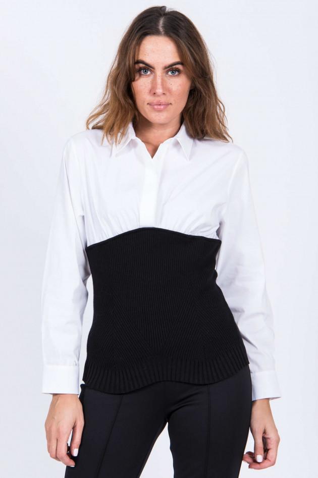 Steffen Schraut Blusen-Shirt mit Rippstrick in Schwarz/Weiß