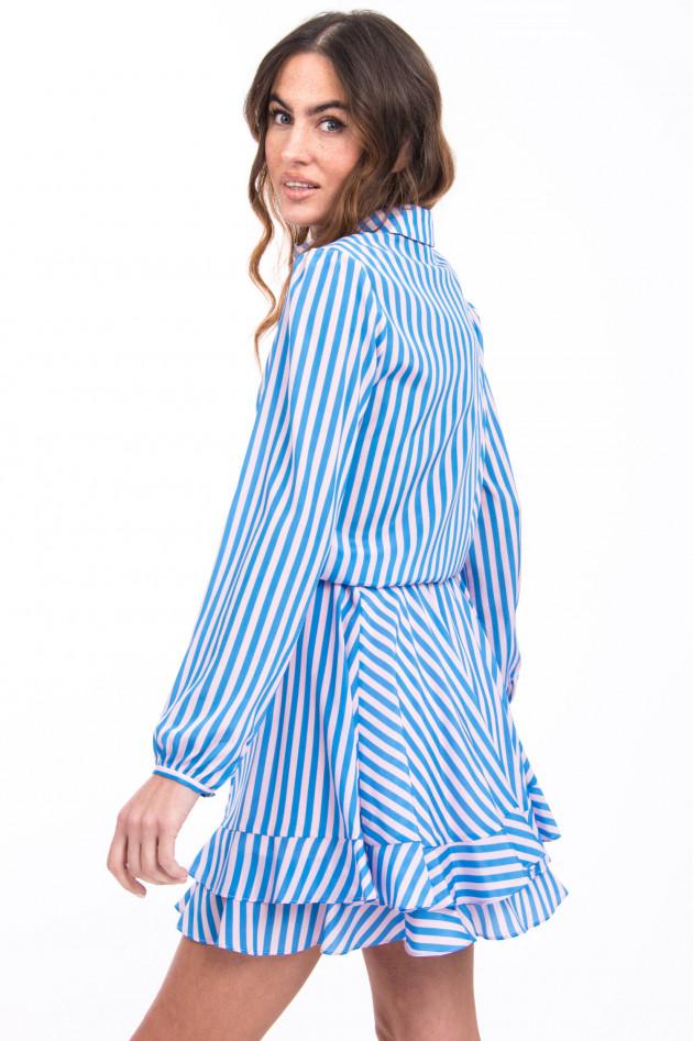 Steffen Schraut Seidenkleid im Streifen-Design in Blau/Rosa