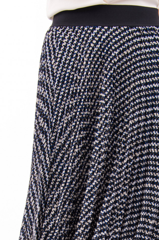 Steffen Schraut Plisseerock mit elastischem Bund in Blau/Weiß