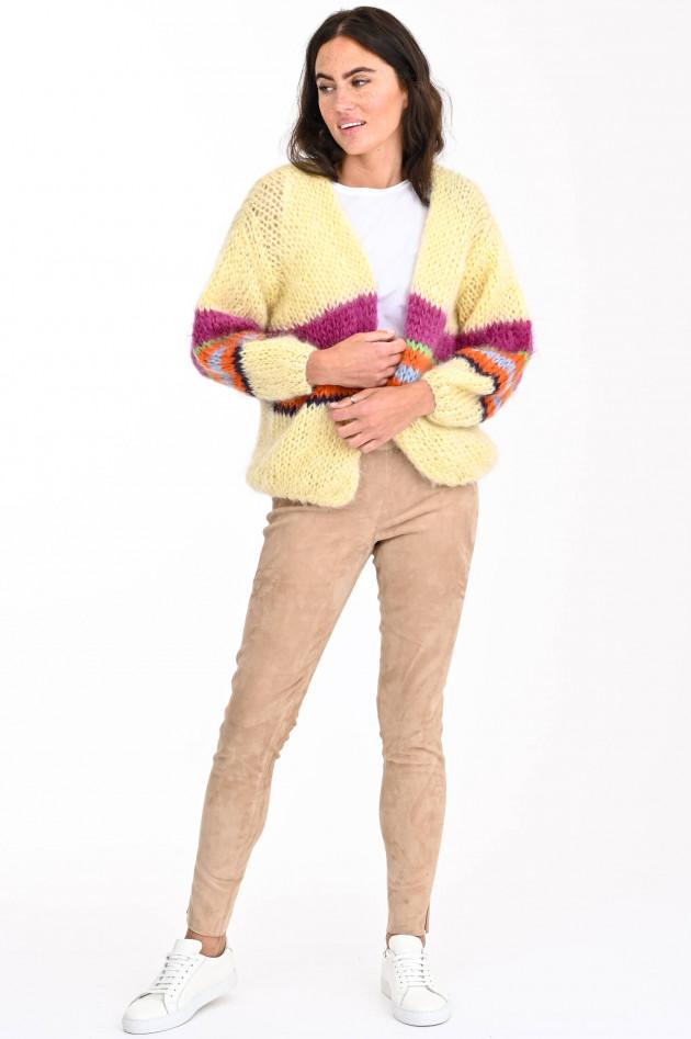 Steven-K Velourslederhose mit elastischem Bund in Caramel
