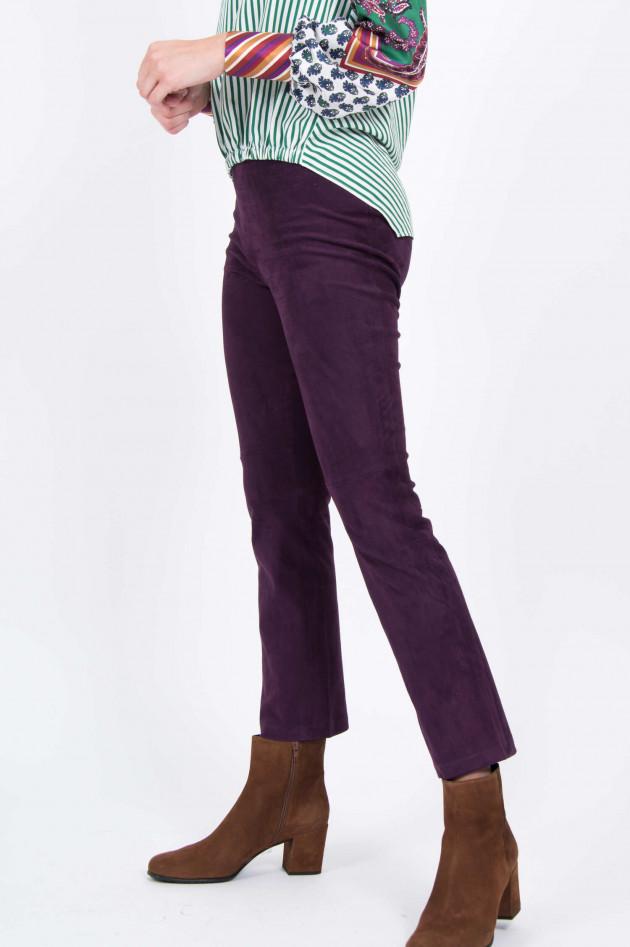 Stouls Velourslederhose mit Kick in Violett