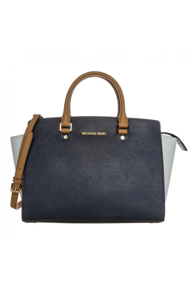 gr ner online shop michael kors tasche selma in navy wei haselnuss. Black Bedroom Furniture Sets. Home Design Ideas