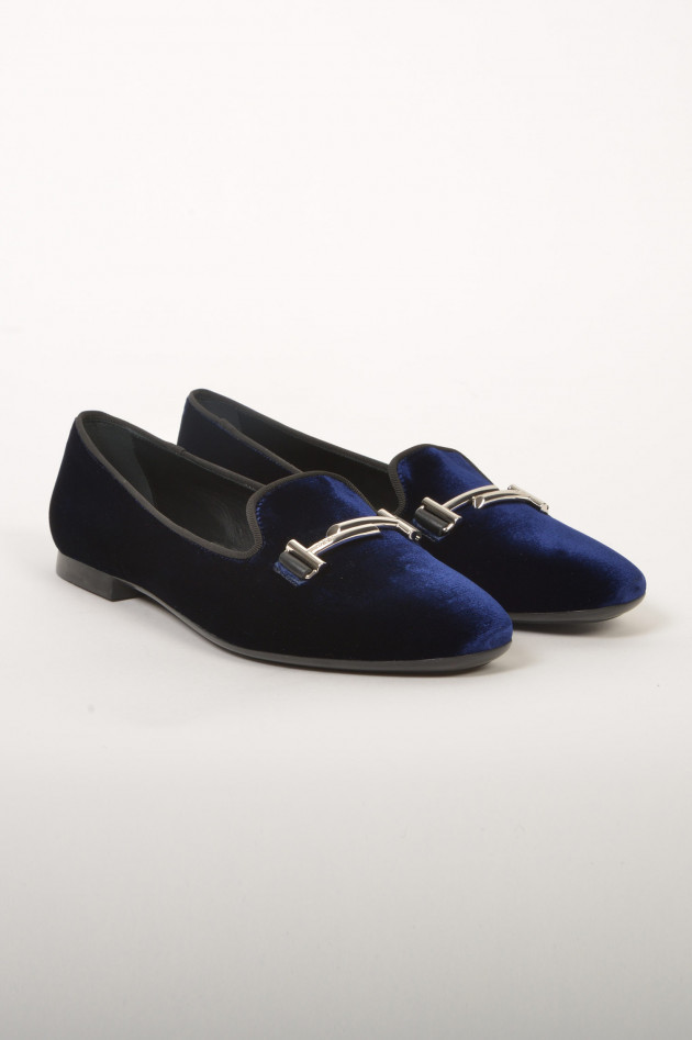 gr ner online shop tod 39 s slipper aus samtoptik in navy. Black Bedroom Furniture Sets. Home Design Ideas