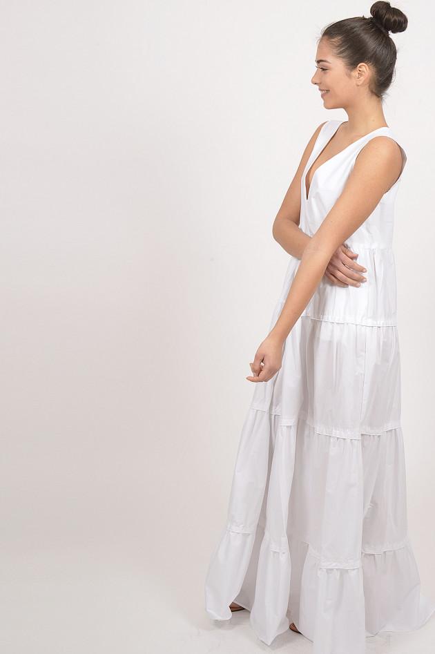 Twin Set Kleid aus Baumwollpopeline mit Rüschen in Weiß