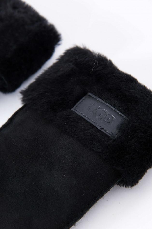 UGG Winterhandschuhe mit Logo in Schwarz