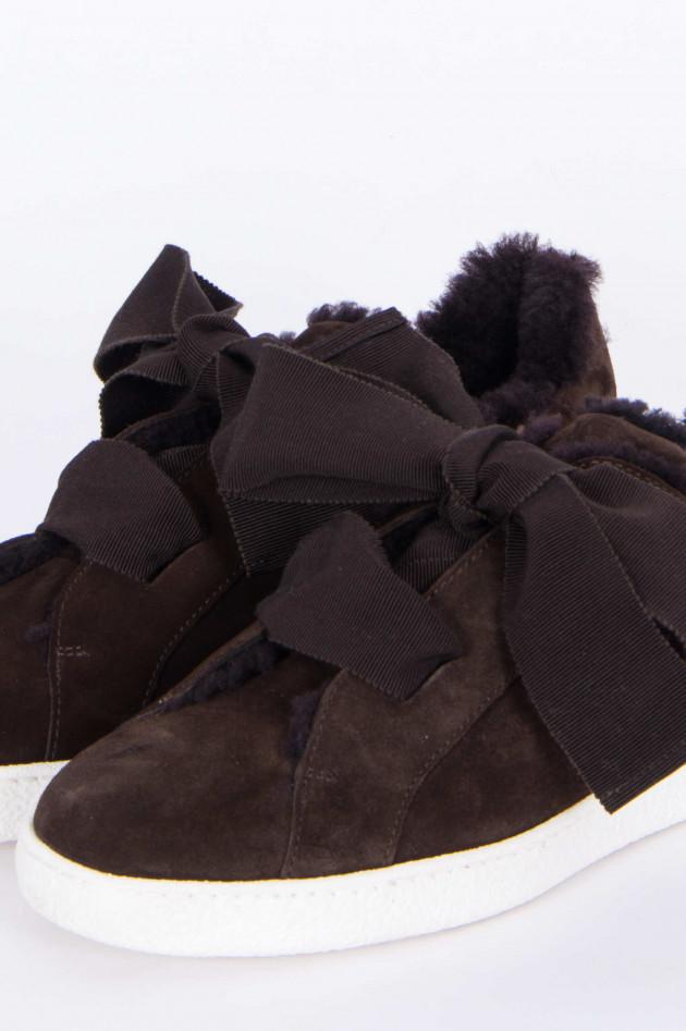 Unützer Sneaker mit Schleifen in Dunkelbraun