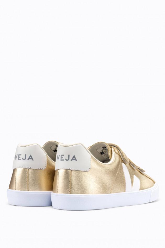 Veja Platin-Leder-Sneaker 3-LOCK in Platin/Weiß