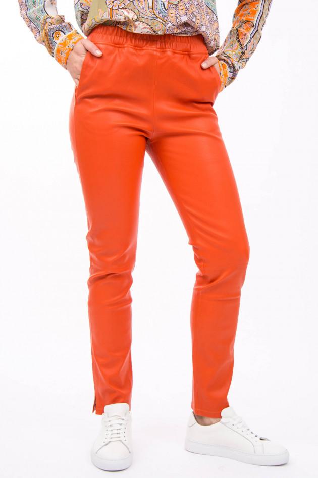 White T Hose aus Nappaleder in Orange