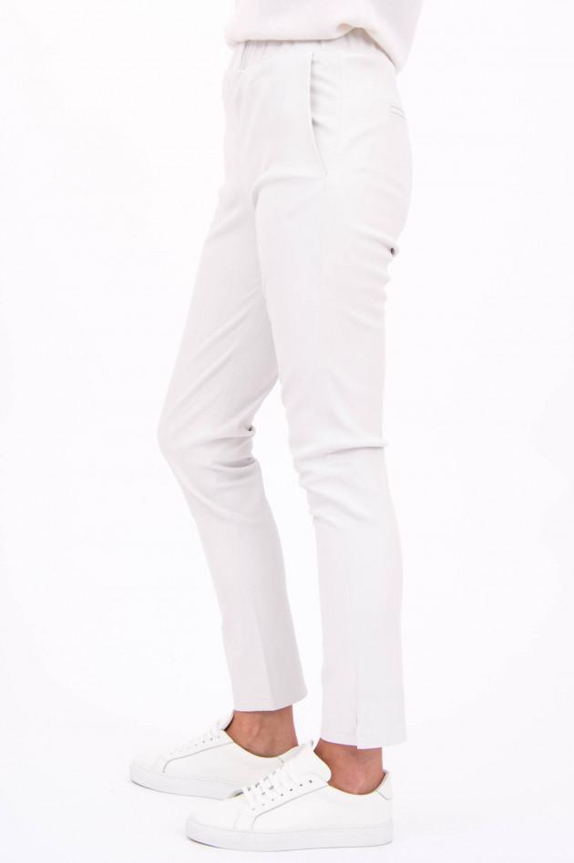 White T Glattleder-Hose in Weiß