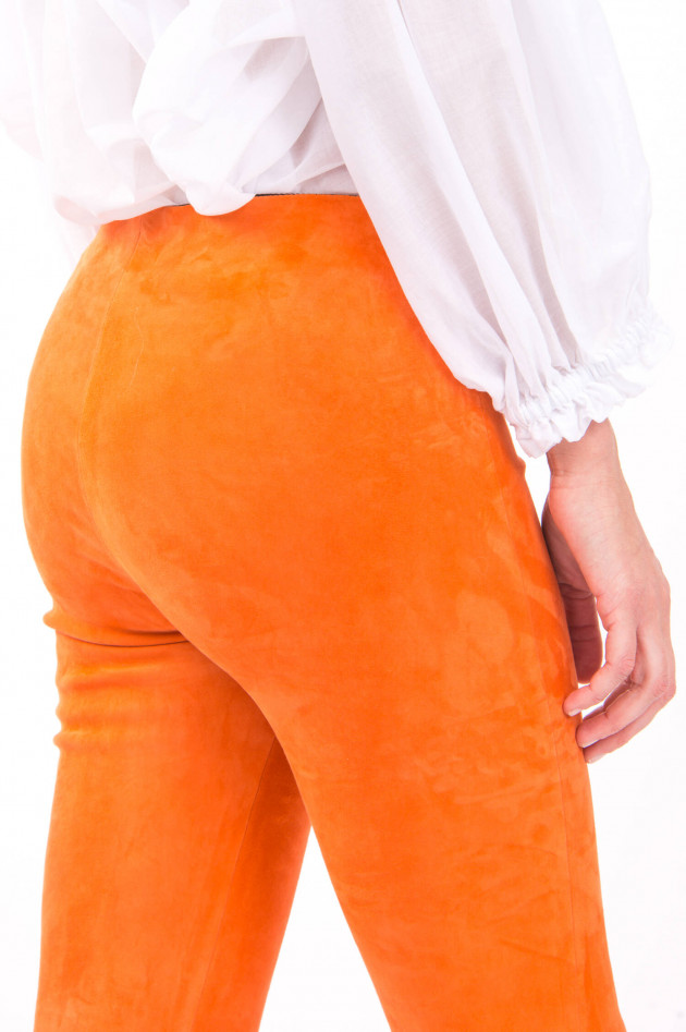 White T Raulederhose mit Kick in Orange