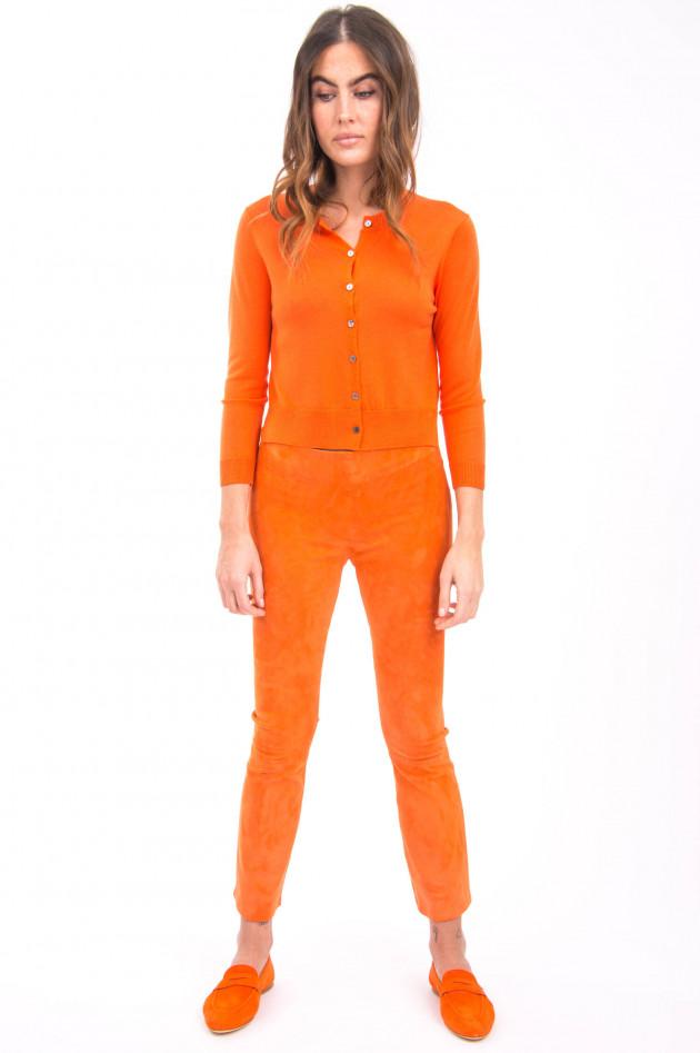 White T Strickjacke aus Merino-Wolle in Orange